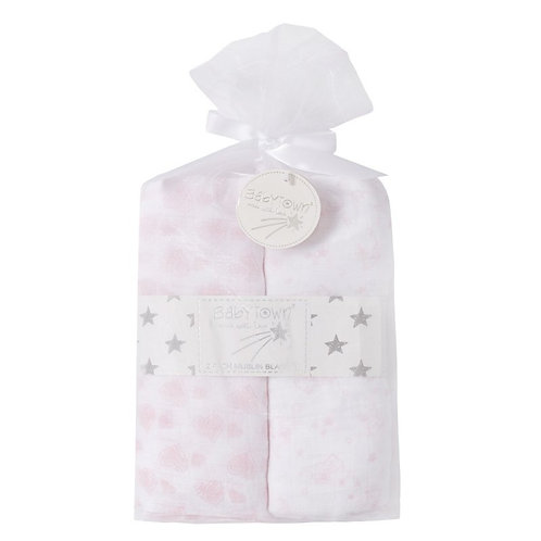 2 Muslin Squares 76x76cm White and Pink