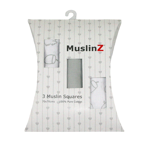 MuslinZ 3 Pack Grey Muslin Squares 70x70cm