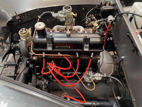 Triumph Roadster engine back in the car