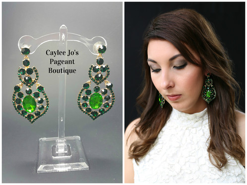 Green chandelier drop earrings 3 caylee jos pageant boutique these beautiful and unique green colored earrings are 3 long with a post back and are sure to set you apart at your next event mozeypictures Choice Image