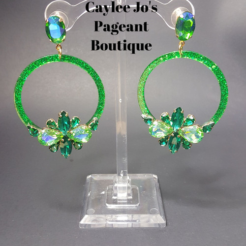 Large Green Halo Cer Earrings 3