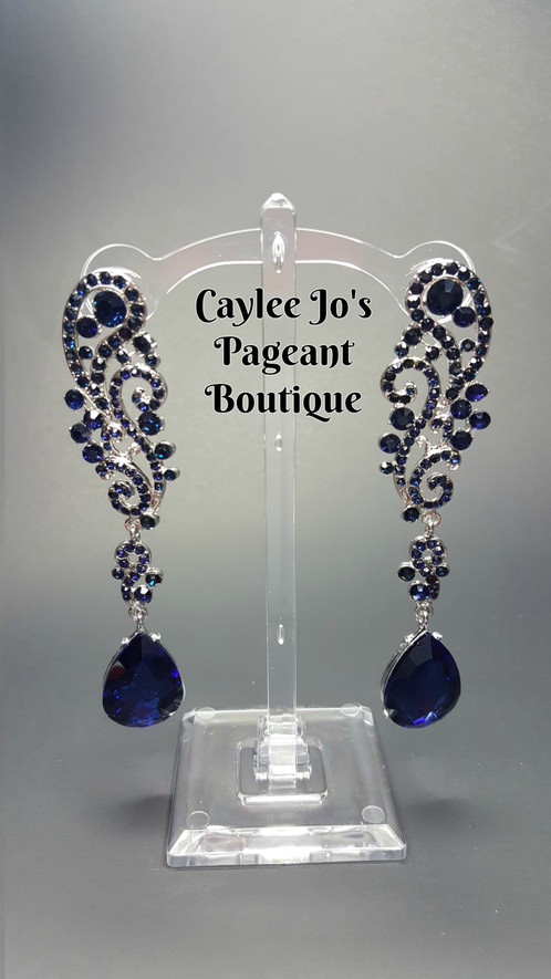 These Beautiful Dark Blue Cer Drop Earrings Are 3 5 Long With A Post Back Very Unique Style That Is Sure To Stand Out Available In Navy And