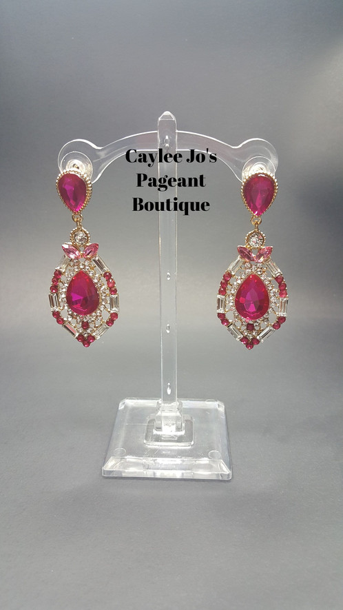 These Beautiful Intricate Earrings Have A Plehtora Of Diffe Shapes Sizes Clear And Pink Stones On Gold Colored Setting