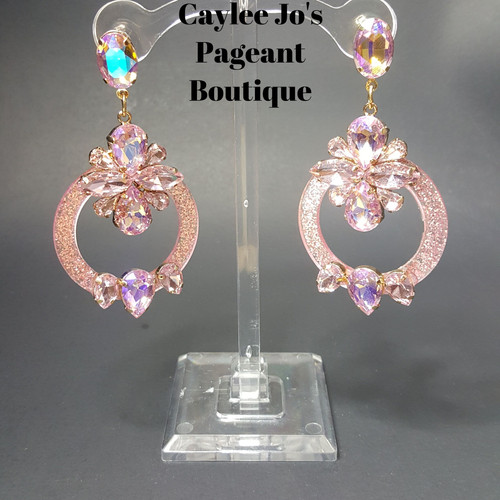 Icy Pink Halo Cer Earrings 3