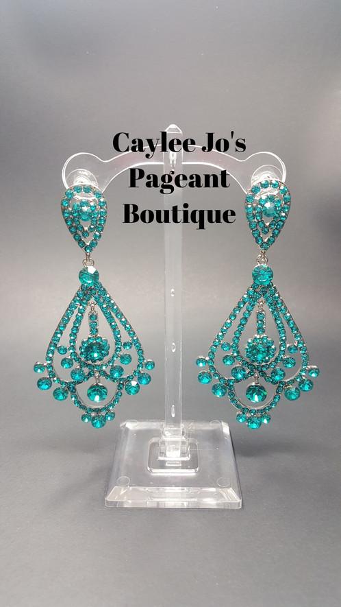 Elaborate chandelier teal earrings 4 caylee jos pageant elaborate chandelier teal earrings 4 mozeypictures Images