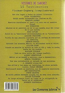 Tapa y contratapa de Visiones de Sánchez, ed. La Comarca
