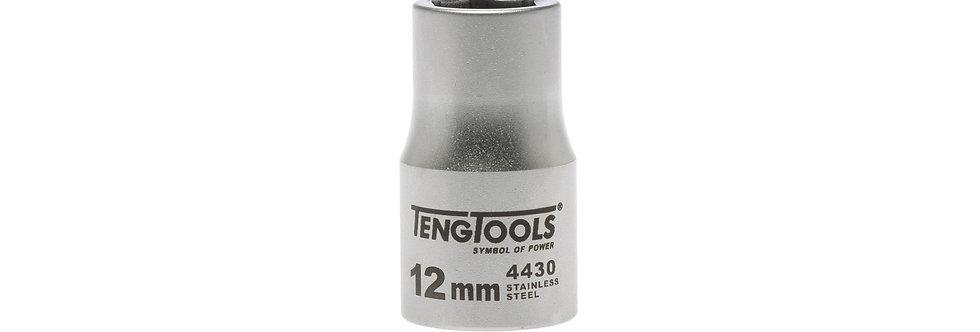 "1/2"" DRIVE S/STEEL SOCKET 12MM (Teng Tools)"