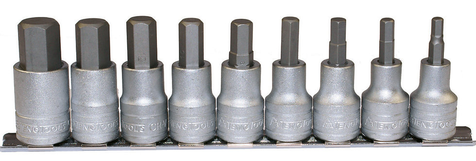 """1/2"""" DRIVE 10 PIECE HEX CLIP RAIL SET (Teng Tools)"""
