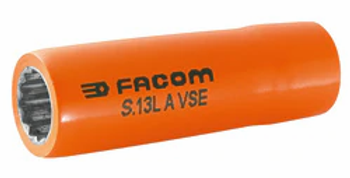 """1000 VSE INSULATED LONG 12-POINT 1/2"""" SOCKETS 18MM (Facom)"""