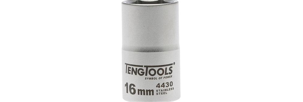"1/2"" DRIVE S/STEEL SOCKET 16MM (Teng Tools)"