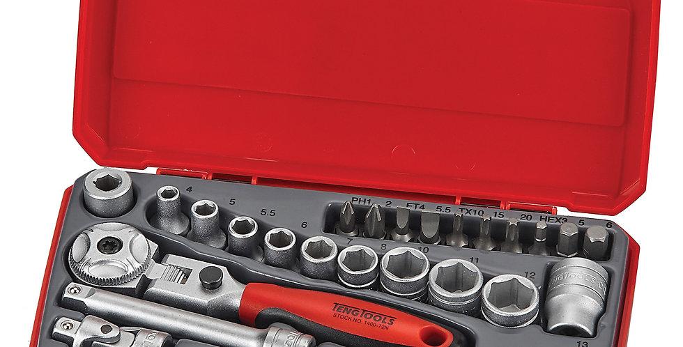 """1/4"""" DRIVE SOCKET SET (FLEX RATCHET) (Teng Tools)"""