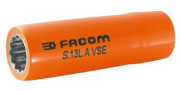 """1000 VSE INSULATED LONG 12-POINT 1/2"""" SOCKETS 13MM (Facom)"""