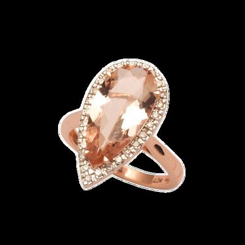 Teardrop Morganite & Diamond Ring