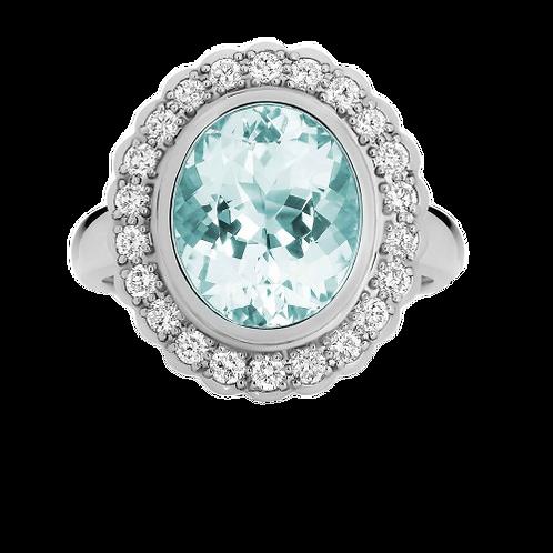 9ct Aquamarine & Diamond Ring