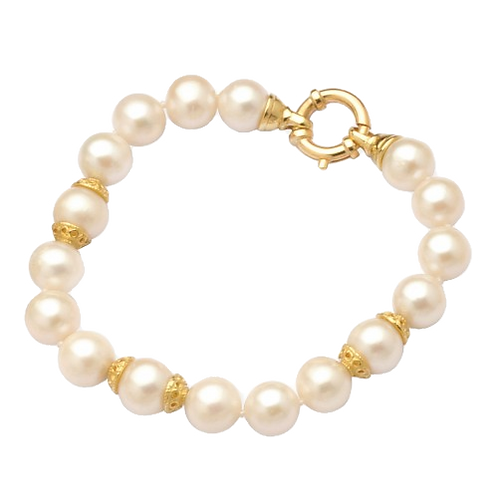 9ct Yellow Gold 11mm FW Pearl Bracelet with Rondels and Boltring