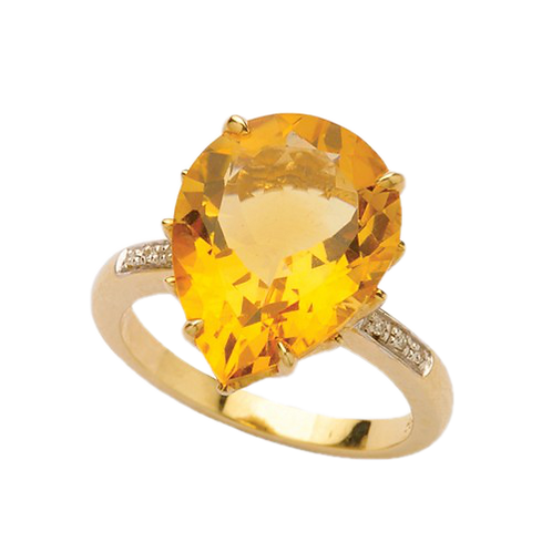 9ct Yellow Gold Teardrop Citrine & Diamond Ring