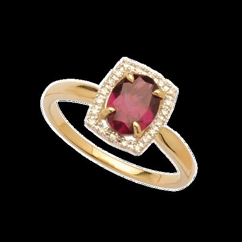 9ct Yellow Gold Rhodolite Garnet & Diamond Ring