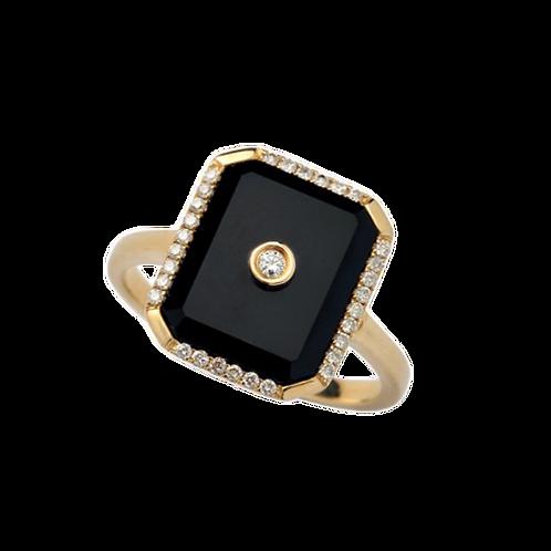 Onyx & Diamond Ring