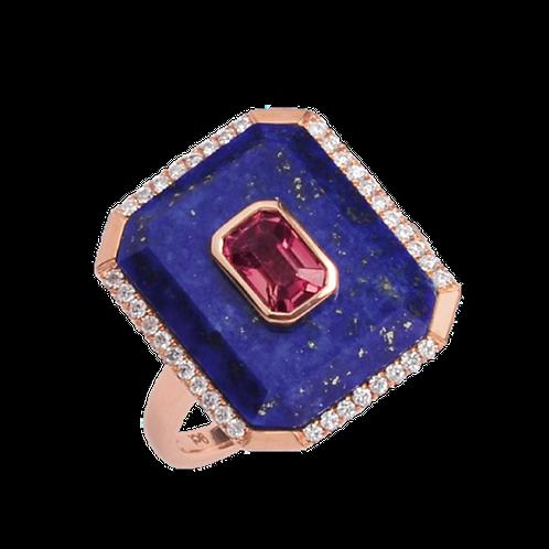 Rose Gold Lapis Lazuli/Pink Tourmaline & Diamond Ring