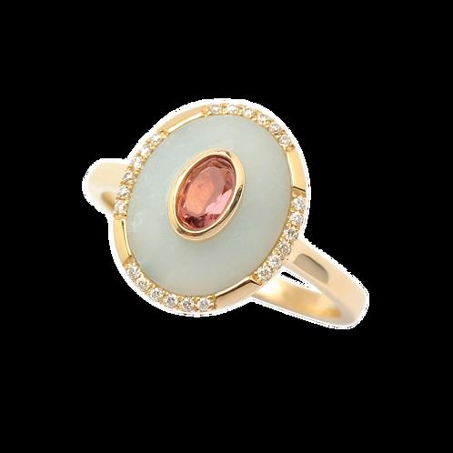 Amazonite, Pink Tourmaline & Diamond Ring - Small