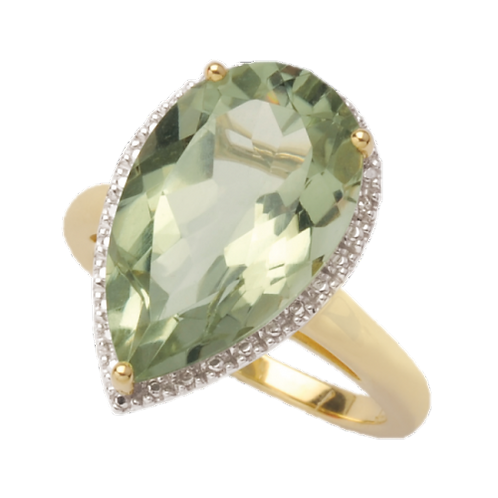 Teardrop Green Amethyst & Diamond Ring