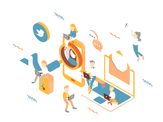 Digital Marketing Page _isometric graphi