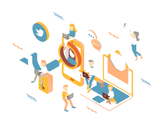 Digital Marketing Page _isometric graphi