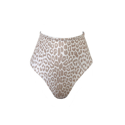 Acapulco Reversible High Waist Bikini Bottoms Leopard/White