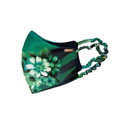 Vintage Silk Face Mask - Dark Green Floral
