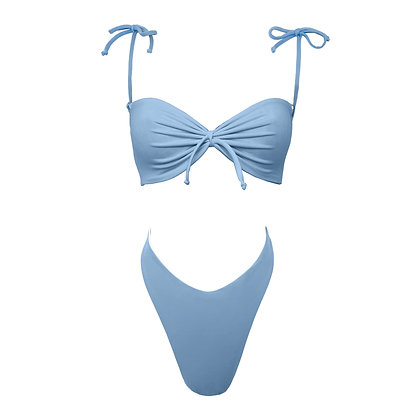 Tequila - V cut bikini in cornflower & white