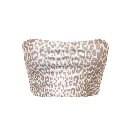 Full Bust - Loco Reversible Bikini Top - Leopard/White