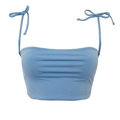 Full Bust - Loco Reversible Bikini Top - Cornflower/White