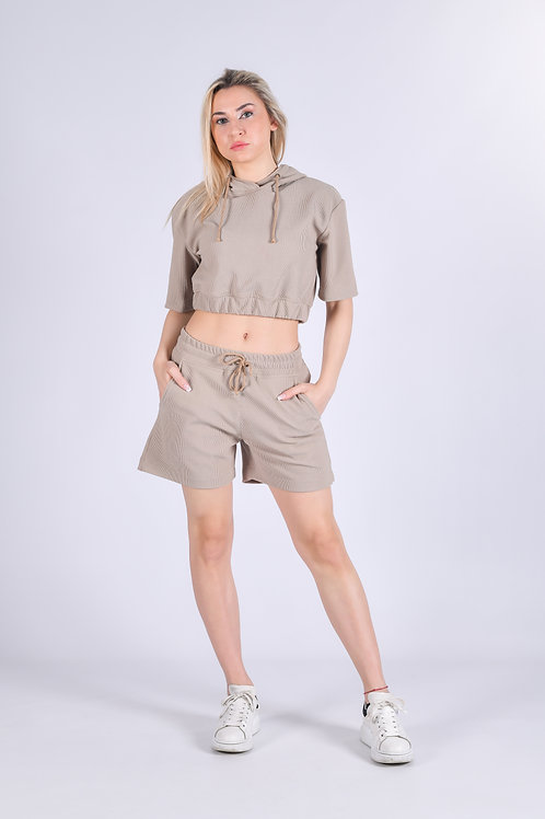 Beige Knit Shorts