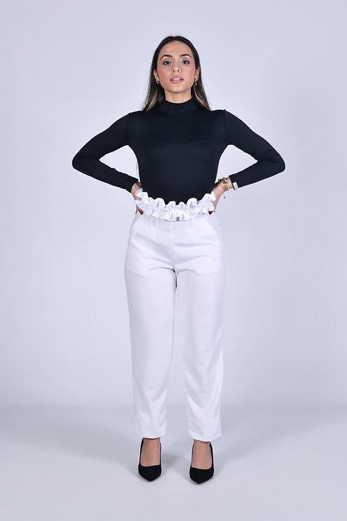 Slim white trousers