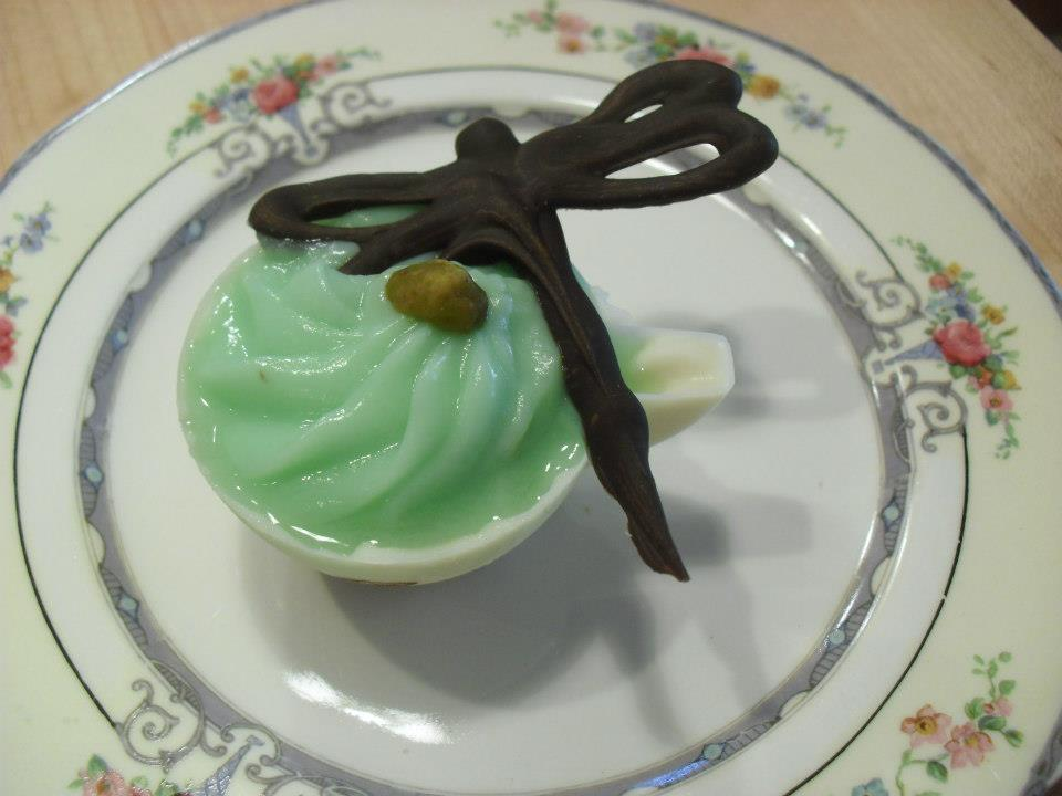 chocolate dragonfly with teacup