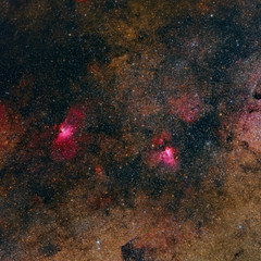 M16 Eagle Nebula and M17 Omega Nebula