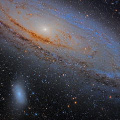 M31, M32 y M110 Trio de Galaxias (Mosaico de dos paneles)