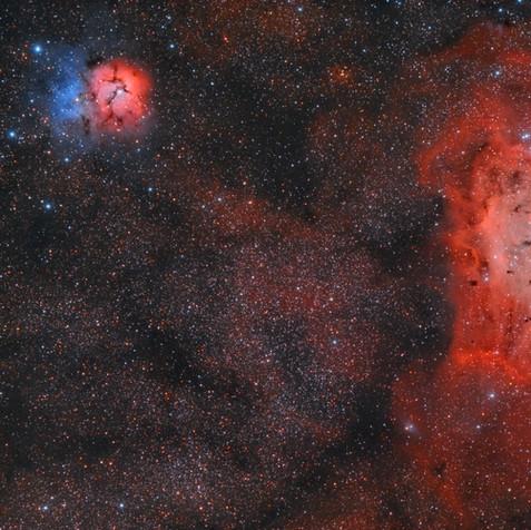 M8 y M20 Nebulosas de la La Laguna y Trifida