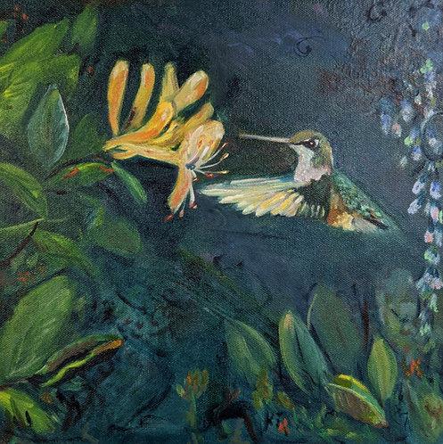 Hummingbird and Honeysuckle