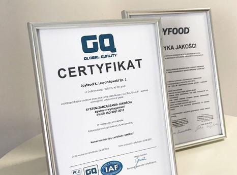 Certyfikat jakości PN-EN ISO 9001:2015 dla Joyfood