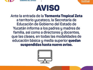 Comunicado Tormenta Tropical Zeta - Suspensión