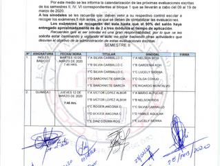 Calendario de Evaluación Escritas B1