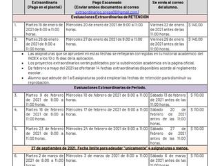 CALENDARIO DE EVALUACIONES EXTRAORDINARIAS
