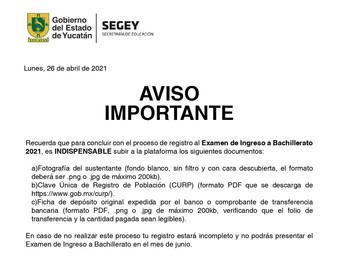 Aviso Importante: Proceso de Ingreso al Bachillerato Agosto 2021 - Julio 2022