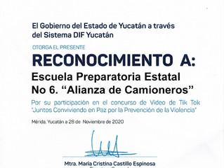 Reconocimiento del DIF Yucatán en el concurso de Video Tik Tok.