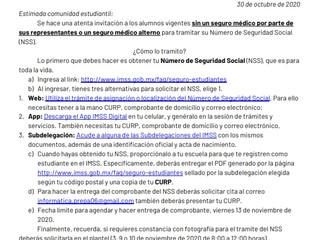 Invitación a inscribirse al Seguro Social.