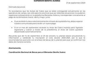Beca Universal para Estudiantes de Educación Media Superior Benito Juárez, Curso 2020 - 2021