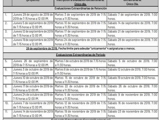 CALENDARIO DE EVALUACIONES EXTRAORDINARIAS SEPTIEMBRE 2019 – DICIEMBRE 2019