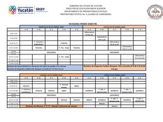 Calendario de las  fechas de Revisión correspondientes a las Evaluaciones de los semestres I, III, V