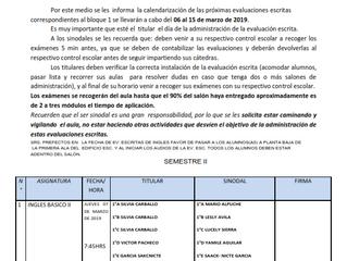 CALENDARIO DE EVALUACIONES B1